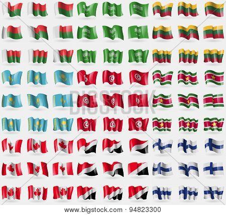 Madagascar, Saudi Arabia, Lithuania, Kazakhstan, Tunisia, Suridame, Canada, Sealand Principality, Fi