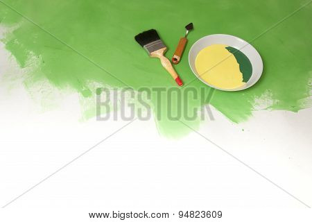 Green And White Background With Painting Stuff