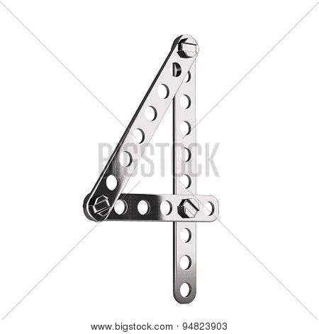 Number 4 made from metall construktor. 3d