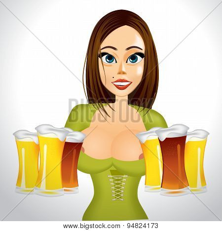 beautiful realistic woman with beer