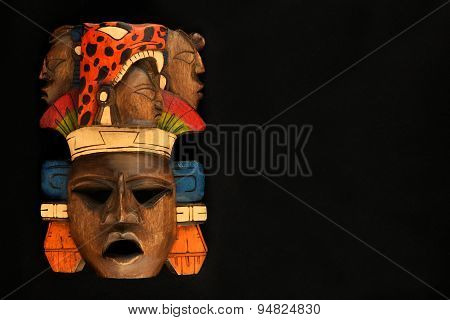 Indian Mayan Aztec Wooden Carved Painted Mask Isolated On Black
