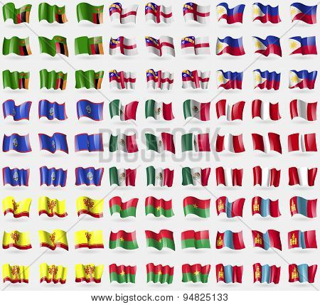 Zambia, Herm, Philippines, Guam, Mexico, Peru, Chuvashia, Burkia Faso, Mongolia. Big Set Of 81 Flags