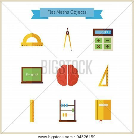 Flat School Maths And Physics Objects Set
