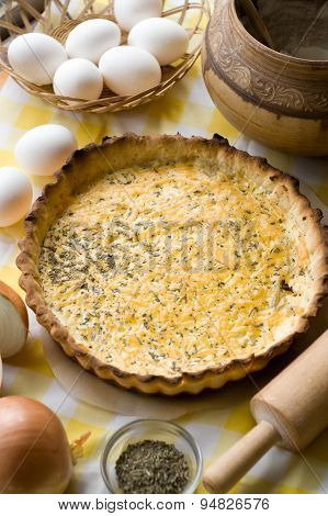 Traditional Rustic Vegetarian Pie With Onions And Cheese