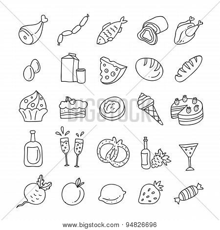 Hand drawn food and drink icons outline: vegetables, fruit, meat, milk, eggs, sweets