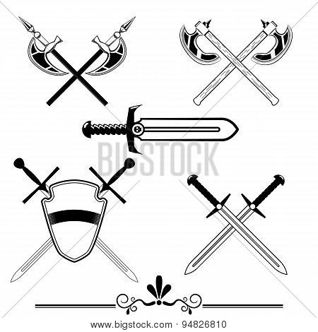 knightly swords and battle-axes