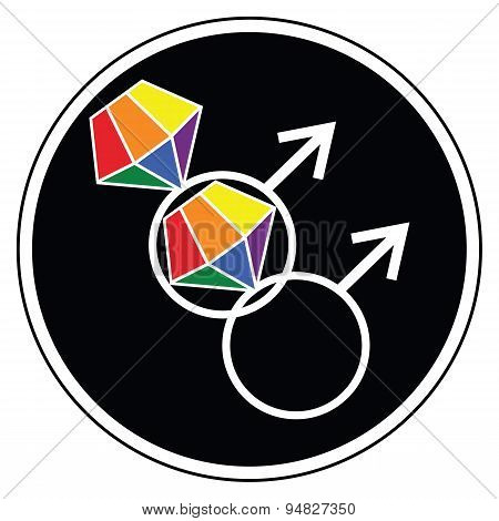 Gay man wedding symbols  icon with rainbow representing glbt community marriage
