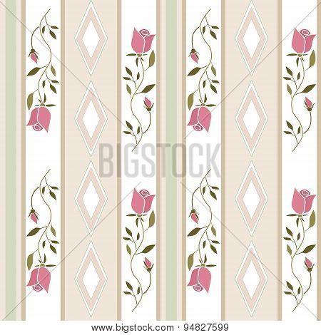 Seamless Cartoon Retro Roses Flowers Pattern Background