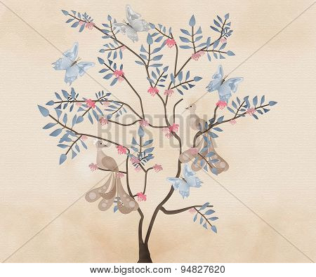 Abstract Background With Cartoon Birds And Tree In Retro Design Colors