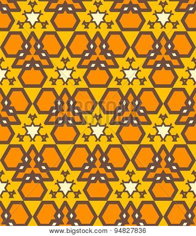 Orange Brown Yellow Color Abstract Geometric Seamless Pattern.