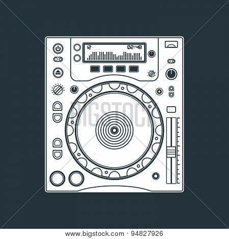 Solid Color Dj Cd Player Device Illustration.
