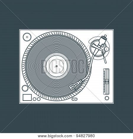Solid Color Vinyl Turntable Device Illustration.