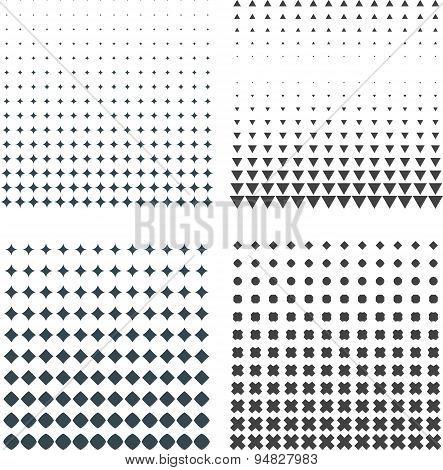 Solid Dark Geometric Halftones Set.