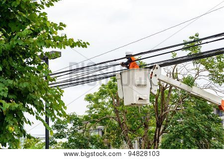 Electrician Repair Of Electric Power Cable