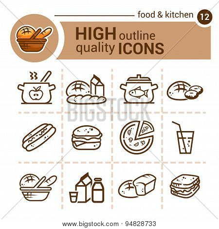 food and kitchen set