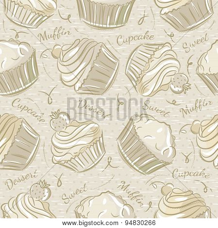 Seamless Patterns With Different Cupcaks
