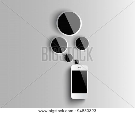 Mobilephone Vector Design White Paper Overlapping Squares Concept ,illustration Interface Symbols