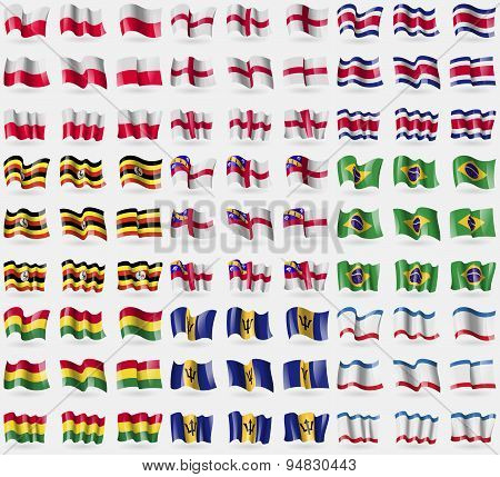Poland, England, Costa Rica, Uganda, Herm, Brazil, Bolivia, Barbados, Crimea. Big Set Of 81 Flags. V