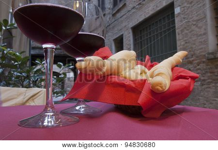 Italian Bread And Red Wine