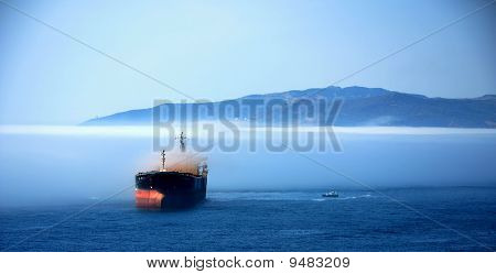 Tanker In The Mist