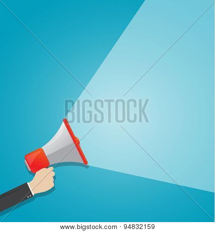 Hand Holding Loudspeaker