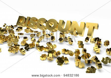Big Discount Label With Gold Dollar Signs Falling From The Sky. 3D Render Image.