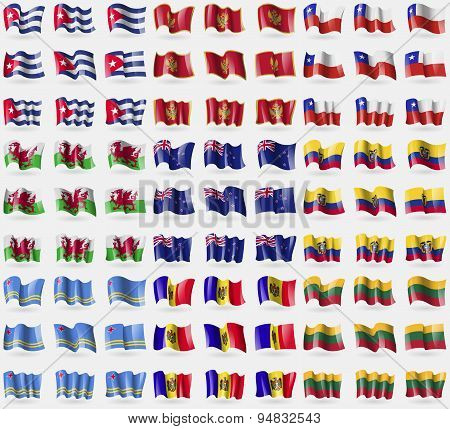 Cuba, Montenegro, Chile, Wales, New Zeland, Ecuador, Aruba, Moldova, Lithuania. Big Set Of 81 Flags.