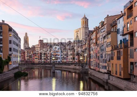 Old Town Of Girona At Dusk, Spain