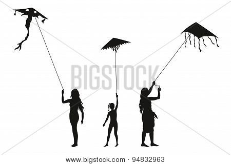 People with Flying Kites, Silhouettes