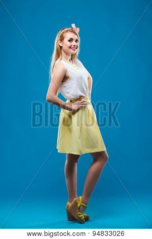 girl in the studio, pin-up, flirting, showing different emotions