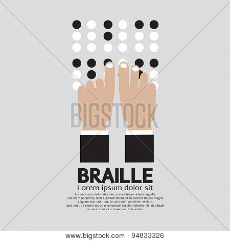 Braille Language Reading By The Blind.