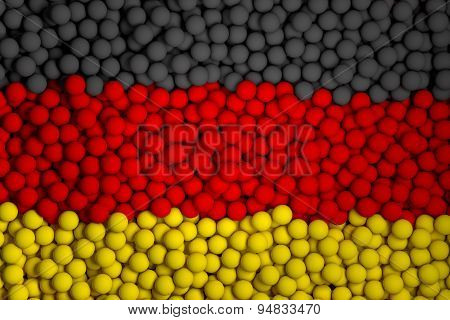 Many Small Colorful Balls That Form National Flag Of Germany. 3D Render Image.