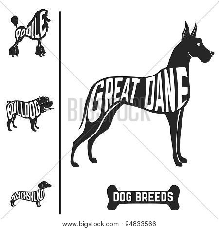 Isolated dog breed silhouettes set with names of breeds inside on white baclground.