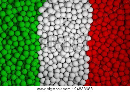 Many Small Colorful Balls That Form National Flag Of Italy. 3D Render Image.