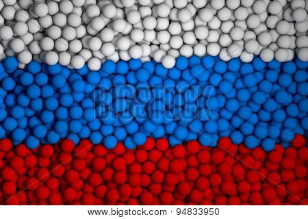 Many Small Colorful Balls That Form National Flag Of Russia. 3D Render Image.