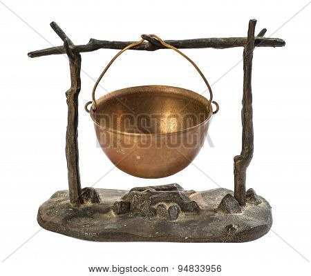 kettle hanging over the fire metal figurine