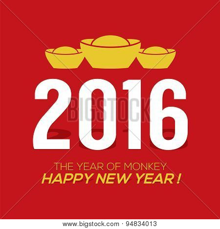 2016 Greeting Card With Traditional Chinese Alphabets Happy New Year.