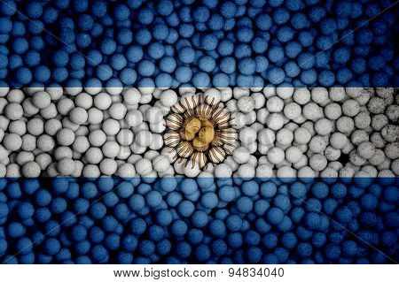 Many Small Colorful Balls That Form National Flag Of Argentina. 3D Render Image.
