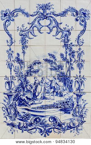 Portuguese Traditional Hand Painted Tin-glazed Ceramic Tilework, Azulejo