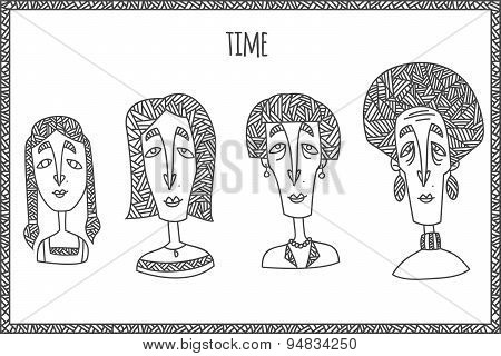 Woman life cycle from kid to grandmother. Hand drawn in unusual ethnic line style isolated on white