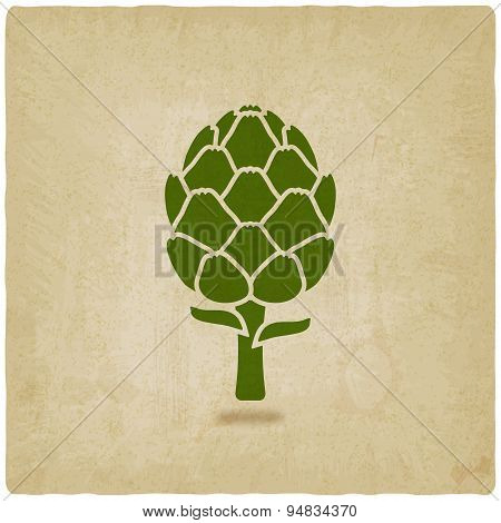 Artichoke Symbol On Old Background