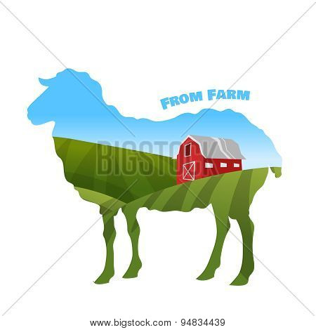 Farm landscape inside sheep silhouette. Concept of eco farm.