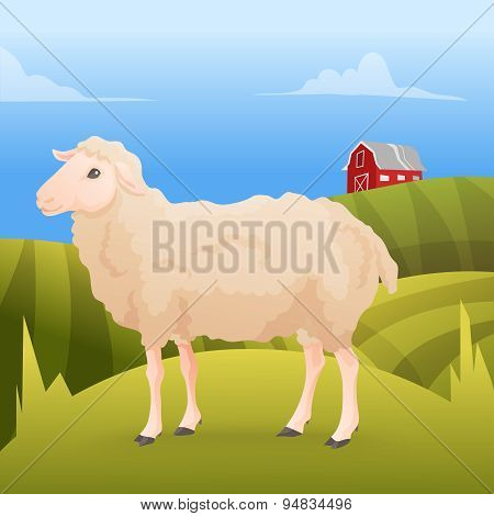 Realisic cute sheep standing on the gras with farm background