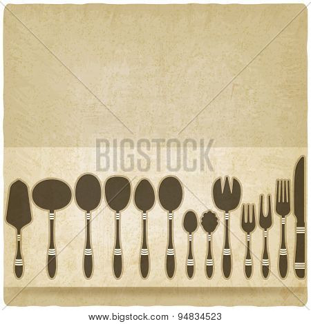 Cutlery Tableware Set Old Background