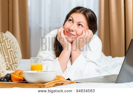 Dreamy Look Beautiful Girl On The Bed