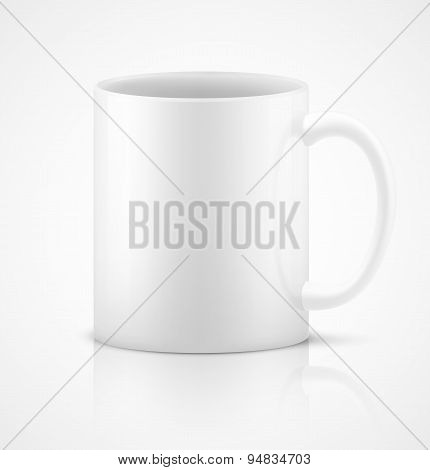 White 3d photorealistic ceramic cup