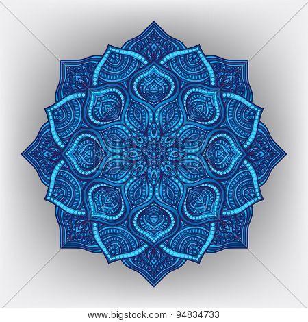 Blue Floral Round Ornament
