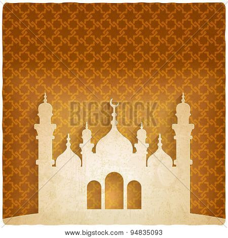 ramadan kareem golden background with Islamic mosque