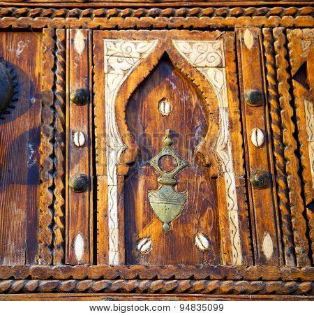 Shell  Brown  Rusty      Morocco In Africa The Old Wood  Facade Home And Safe Padlock