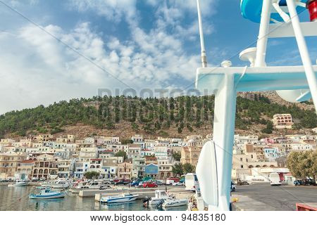 Front view of Pothia bay on Greek Dodecanese Kalymnos island